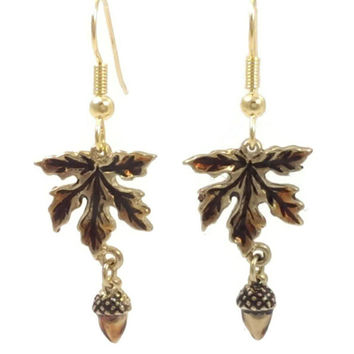 Acorn and Leaf Earrings
