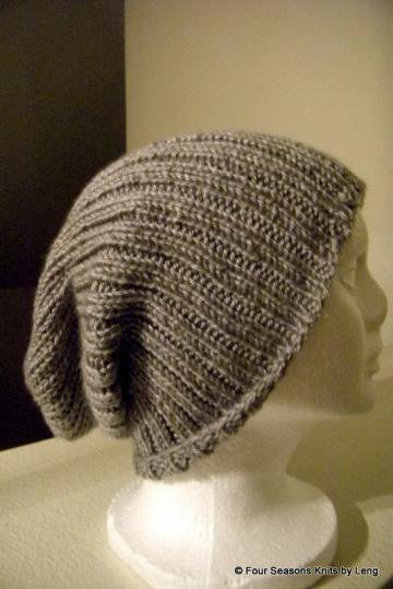 Hand knitted Skater head Ribbed Beanie  by FourSeasons on Zibbet