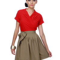 Clever Cleaver Red and Taupe Dress