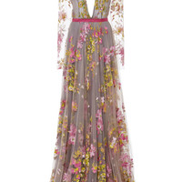 Floral Embroidered Long Sleeve Gown by Naeem Khan - Moda Operandi