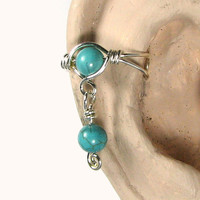 Sterling Silver Ear Cuff with Dangle Turquoise Dyed Howlite or 56 Choices