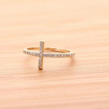 SIDEWAYS CROSS with ring with swarovski crystal in gold  by bythecoco on Zibbet