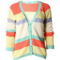 LOVE Multi Pastel Stripe V Neck Cardi - Love