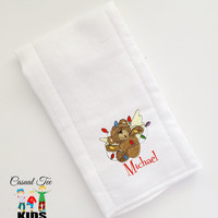 Set of 3 Personalized Baby Burp Cloth Embroidered with Christmas Bears Your Choice