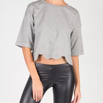 Wavy Edge Cropped Top - Heather Gray /