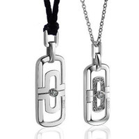 Personalized Engrave Interlocking Puzzle Couples Necklaces,Matching Pendant Sets - Gullei - -