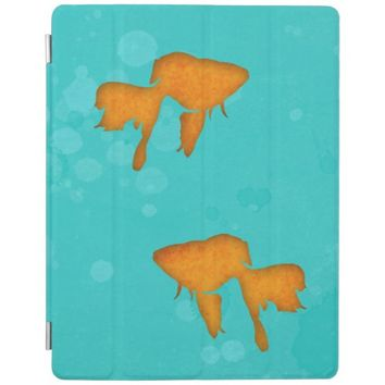 Goldfish silhouettes turquoise water iPad cover