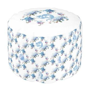 Alice in Wonderland Cat Blue Floral Pouf Seat