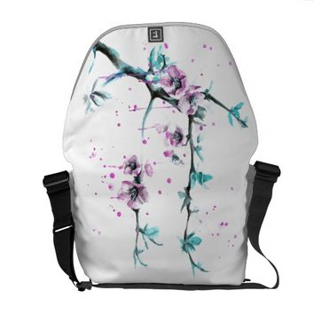 Spring flowers blossoms pink Messenger bags