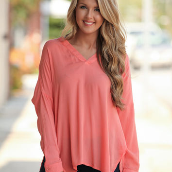 Fall Into Me Coral Top – Dress Up