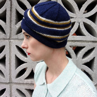 Knit Hat - 1930s Beanie in Navy with Caramel & Cream Stripes