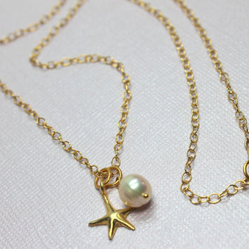 Starfish and Pearl Necklace, Starfish Necklace, Freshwater Pearl, Bali 24kt Vermeil Starfish Charm