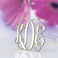 "monogram necklace gold,gold Plated monogram necklace,1"" 1.25"" 1.5''  inch Personalized Monogram,925 Sterling silver 18k Gold Plated,"