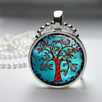 Tree Glass Tile Bezel Pendant Necklace