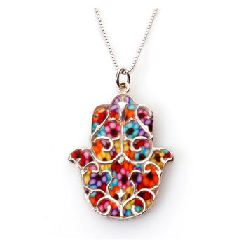 Hamsa Hand Pendant - Fleur de Lis Pattern - Colorful Necklace - Handmade Jewelry - FREE SHIPPING