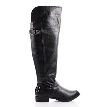 Savy Knee High Buckle Moto Riding Boots