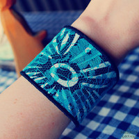 Bohemian Cuff Bracelet Faux Leather Blue Lace Upcycled Recycled Jewelry Boho Hippie Skull Eco Friendly by TheBohemianDream