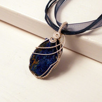 Azurite Crystal Silver Pendant Necklace,  Sterling Silver Wire Wrapped Necklace, OOAK Jewelry