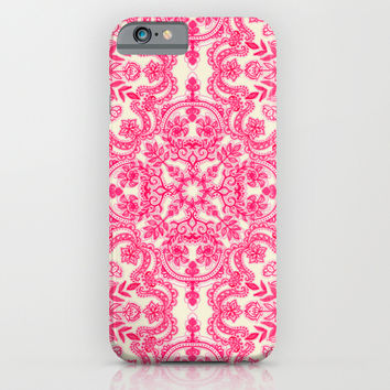 Hot Pink & Soft Cream Folk Art Pattern iPhone & iPod Case by micklyn