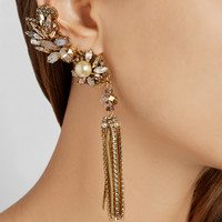 Erickson Beamon - Stratosphere gold-plated, Swarovski crystal and faux pearl earrings