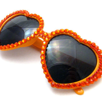 Flame Princess Heart Shaped Sunglasses - Tangerine, Orange & Red Rhinestoned Sunnies - Bright Cute Kawaii Accessories