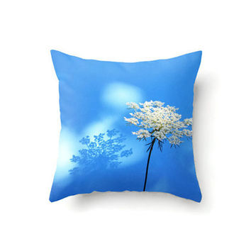 Square Pillow Cover with Queen Anns Lace flower in white and blue, indoor or outdoor throw pillow covers in 16 x 16, 18 x 18 or 20 x 20 inch