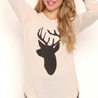 Long Sleeve Crossover High Low Super Soft Top with Deer Screen