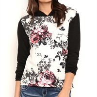 Long Sleeve Quilted French Terry Raglan Hoodie with Floral Print