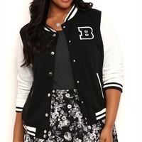 Plus Size Fleece Varsity Jacket with Snap Front and B Patch