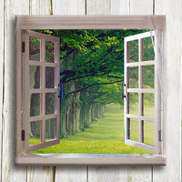 Green Window Canvas Art