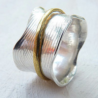 Spinner ring, brass and silver - meditation ring - twig ring - mixed metal