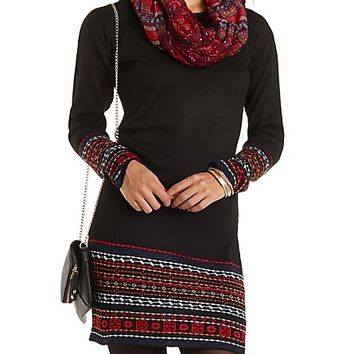 Tribal-Bordered Sweater Dress by Charlotte Russe - Black Combo