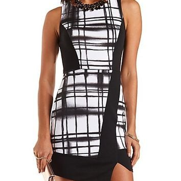 Asymmetrical Patterned Tank Dress by Charlotte Russe - Black/White