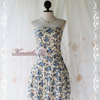 SALE Last Piece - Jazzie - Strapless Sundress Blooming Floral Print Matching Sash Cutie Lovely Gorgeous Summer Dress Plus Size L-XL