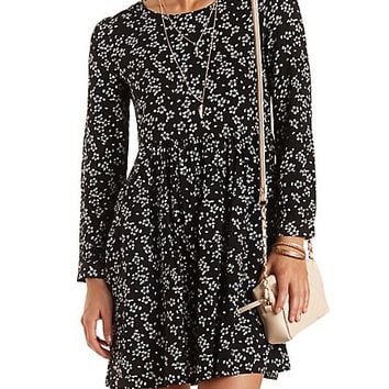Long Sleeve Floral Babydoll Dress by Charlotte Russe - Blue Combo