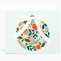 Christmas Card Set | Illustrated Holiday Card Set, Illustrated Christmas Cards with Floral Ornament