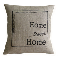 Personalized Home Sweet Home Hessian Burlap Pillow Cushion Cover 16""