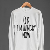 OK I'M HUNGRY NOW LONG SLEEVE T-SHIRT BLACK ART ID10171638 | Long Sleeve Tee | Skreened