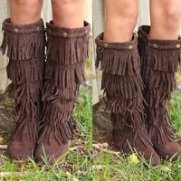 Wild Horses Fringe Boots II in Chocolate