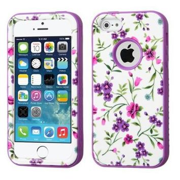 MyBat VERGE Hybrid Protector Cover for iPhone 5s - Retail Packaging - Fresh Falling Flowers/Electric Purple