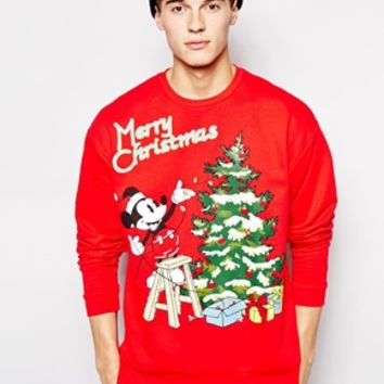 ASOS Oversized Sweatshirt With Mickey Mouse Christmas Print