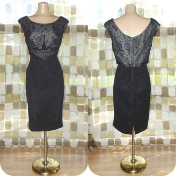 Vintage 50s Black Silk Georgette Beaded Cocktail Wiggle Dress Lane Bryant XL 1X Plus Size