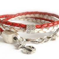 Red and White Bolo Leather Bracelet with Thai Silver, Sailor Inspired Leather Bracelet, Anchor, Red, White, Silver, red bolo cord
