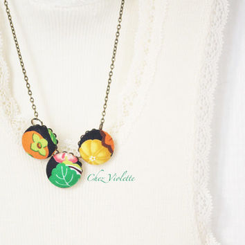 Vintage fabric necklace, multicolored necklace, button necklace, fiber necklace, handmade necklace