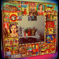 Indian Matchbox Bevel Wall Mirror -  india matchbook art - decoupage furniture - vintage decor