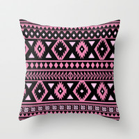 Tribal Patten pink black Throw Pillow by tjc555   Society6
