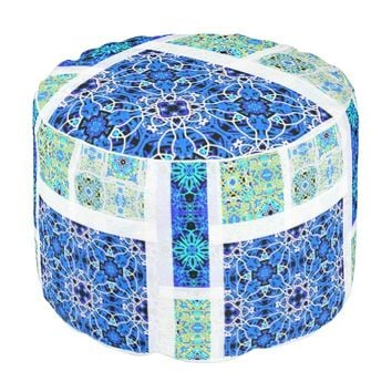 Calm (Blue Patterns) Round Pouf by KCS
