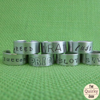 Seven Deadly Sins - Pick One  - Hand Stamped Adjustable Ring