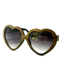Handcrafted Wooden Faced Sunglasses Heart Lolita Womens Style // WALNUT