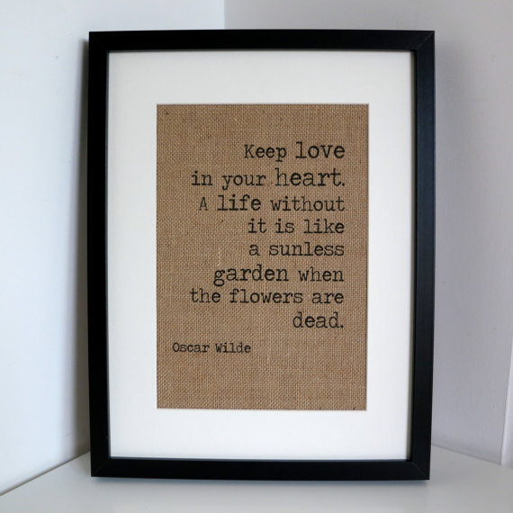 Personalised Burlap Wall Art- Love Quote Poem Print Hessian Wall Decor up to A2 size